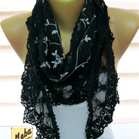 Black scarf- scarf - gift Ideas For Her Women's Scarves-christmas gift- for her -Fashion accessories
