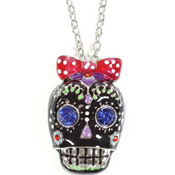 Black Sugar Skull Necklace Crystal Bow Silver Tone Gothic Skeleton Pendant NO70 Fashion Jewelry