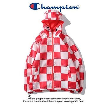 Champion New Fashion Couple Checkerboard Hooded Cardigan Coat Red