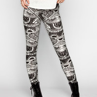 Full Tilt Ethnic Sun Womens Leggings Black/White  In Sizes