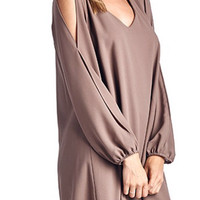 Cutout Sleeve Flowy Dress - Mocha