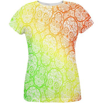 Cinco de Mayo Crazy Sugar Skull Pattern All Over Womens T Shirt