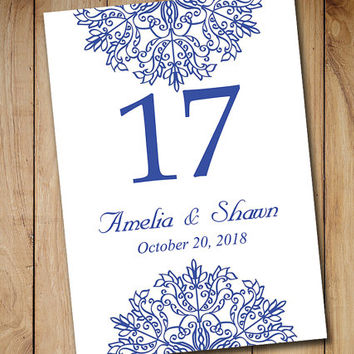 Printable Wedding Table Number Template | from PaintTheDayDesigns