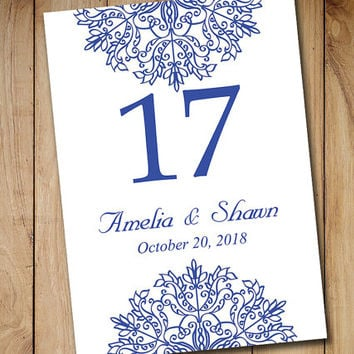 "Printable Wedding Table Number Template | Winter Wedding Adriatic Royal Blue ""Kaleidoscope"" Snowflake EDITABLE TEXT 5x7 Table Number"