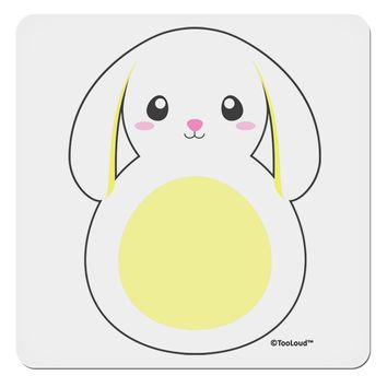 "Cute Bunny with Floppy Ears - Yellow 4x4"" Square Sticker by TooLoud"