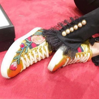 shosouvenir :Gucci Ace Embroidered Golden Leather Low-top Sneaker