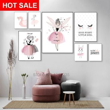 Pink Baby Girl Room Decor Posters Wall Art Canvas Painting Fairy Nordic Poster Unicorn Wall Pictures For Living Room Unframed