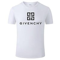 Givenchy Tide brand solid color letter printing men and women casual round neck half sleeve shirt White