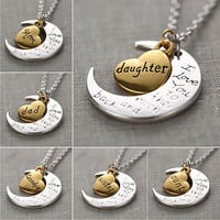 "Best Gift For Family I LOVE YOU TO THE MOON AND BACK "" Necklace Charm Pendant"