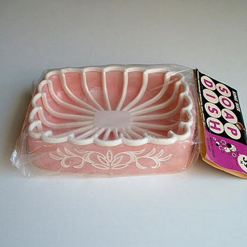 Pink Soap Dish Plastic Vintage 1960's  Ktichen Bathroom 2 Piece Faux Marble Swirl  Base Arrow Housewares New Old Stock
