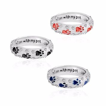 "Paw Ring Black Red Blue Silver color ""When I am with my pet,I am complete"" Rings for dog owner lover Animal Pet Jewelry"