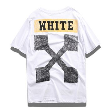 Off White New Fashion Letter Arrow Print Women Men Top T-Shirt White