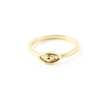 Lucky Charm Ring in Gold with Evil Eye