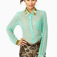 Gold Bar Blouse - Mint