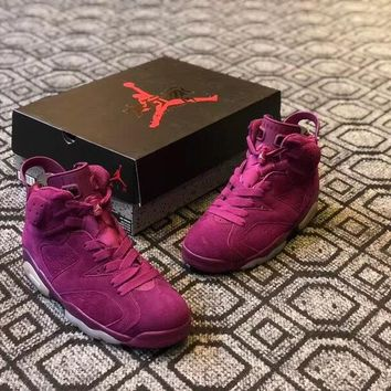 "Air Jordan 6 Custom ""Wine Red"" Men Basketball Shoes Sneaker"