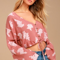 Garden Delight Rusty Rose Floral Print Crop Top