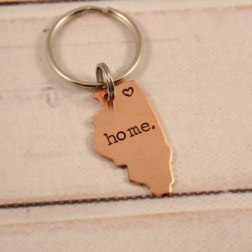 """home"" Illinois Keychain with Chicago heart - READY TO SHIP"