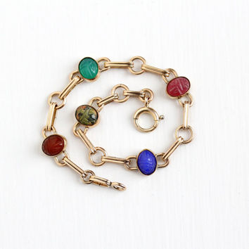 Vintage 12k Rosy Yellow Gold Scarab Bracelet - Retro Carved Colorful Tiny Beetle Bug Unakite & Carnelian Gems Dainty Egyptian Jewelry