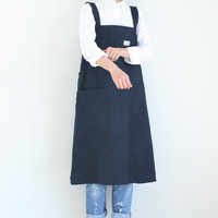 Linen Long Apron Dress,Navy