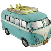 Retro Surfer Van Coin Piggy Bank - Blue