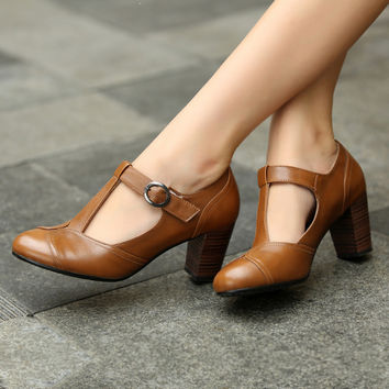 Best Brown Leather Chunky Heel Shoes Products on Wanelo