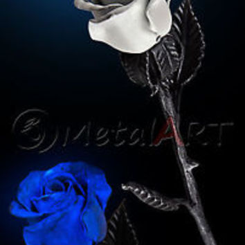 Metal Rose Blacksmith Hand Forged Gift Luminous Iron Steel Art Flower Sculpture
