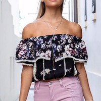 Pick A Petal Black Floral Off The Shoulder Top