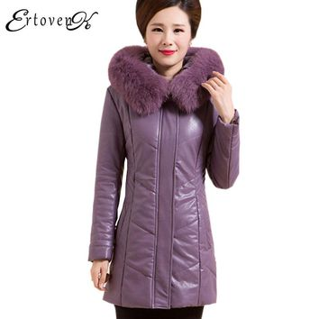 Middle aged 2017 Winter New parkas Women Leather Feather Padded Outerwear Thicker Long Cotton Jacket Plus size Female Coat C61