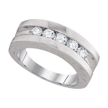 10kt White Gold Mens Round Channel-set Diamond Single Row Wedding Band 1.00 Cttw - FREE Shipping (US/CAN)