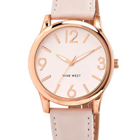 Nine West Women's Light Blush Strap Watch 40mm NW-1158PKRG