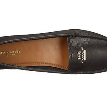 NEW COACH Opal Pebble Grain Leather Loafer Flat Shoe Black w/Gold hardware