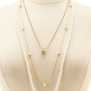 Gold Rhinestone & Pearl Layered Necklace by Charlotte Russe