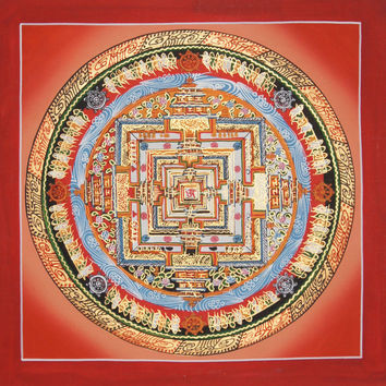 Kalachakra Mandala Tibetan Thangka Painting Buddhist Wall Hanging Meditation Yoga Canvas Art