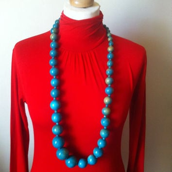 New Stock. Vintage Chunky Beaded Necklace. Retro Glam Jewellery. Mod Designer Glam
