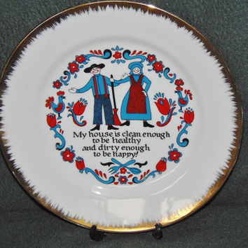 Vintage Norcrest plate My house is clean enough to be healthy