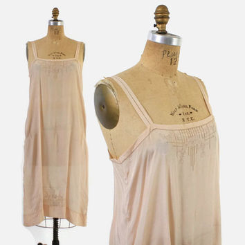 Vintage 20s SILK NIGHTGOWN / 1920s Delicately Embroidered Palest Whisper Pink Slip Dress S - M