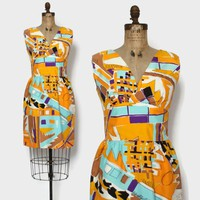 Vintage 60s Abstract Sheath Dress / 1960s Bright Graphic Print Sleeveless Dress