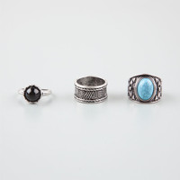 Full Tilt 3 Piece Stackable Stone/Wide Text Rings Silver  In Sizes