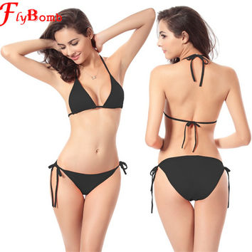 Flybomb Women Bikini Swimsuit Micro Bikinis Set Bathing Suits With Halter Strap Swimwear Brazilian Bottom Monokini Girl's Bikini