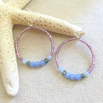 Lilac Beaded Earrings - Purple Beaded Hoop Earrings - Seed Bead Hoop Earrings - Lightweight Purple Earrings - Purple Gemstone Earrings