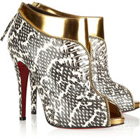 Christian Louboutin Col Zippe 120 leather and python ankle boots – 55% at THE OUTNET.COM