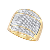 Diamond Micro Pave Mens Ring in 10k Gold 0.85 ctw