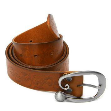 VOND4H 2017 Preety  Vintage Women Leather Wide Belt Casual Pin Buckle Embossed Waistband Waist Strap MAY11_35