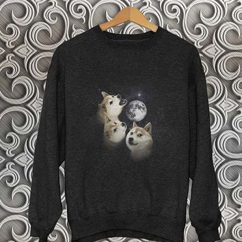 three dog moon sweater Black Sweatshirt Crewneck Men or Women Unisex Size