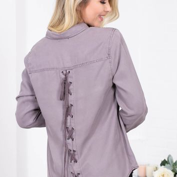 Dear John Eyelet Stone Button-Up