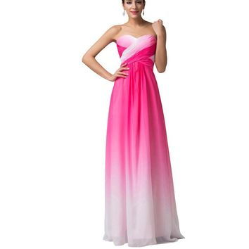 A Line Ombre Evening Gowns Chiffon Formal Evening Dresses Long Elegant Prom Formal Dress