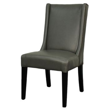 Holden Bonded Leather Dining Chair Black Legs, Vintage Gray (Set of 2)