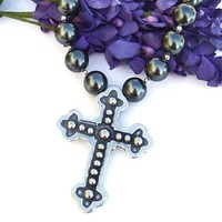 Mexican Style Pewter Cross Handmade Necklace Pearls Sterling Jewelry