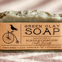 Green Clay Soap- All Natural Soap,Handmade Soap,Acne Soap, Green Clay Soap,anti-cellulite soap,Spa Soap,Unscented Soap.