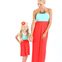 Mint and Dark Coral Cinched Straps Maxi Dress - Ryleigh Rue Clothing by MVB